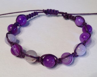 Purple Striated Agate Stone Beads on Purple Waxed Cotton Bracelet