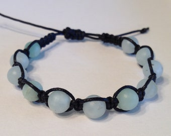 Green Amazonite Semi Precious Beads on Black Waxed Cotton Bracelet