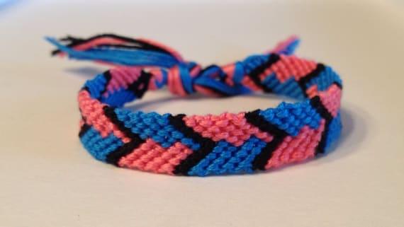 CLEARANCE - Hot Pink & Turquoise - Chevron Friendship Bracelet