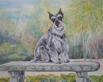 """Custom Dog Portrait Schnauzer Watercolor 16"""" x 20"""""""