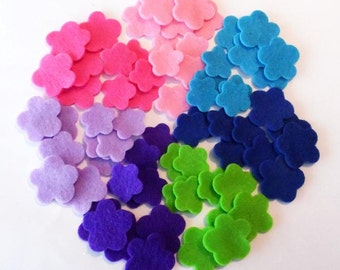 Felt flower Shapes, set of 70 pieces