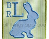 Easter Bunny Square Patch Applique Design - 3 Sizes - INSTANT DOWNLOAD