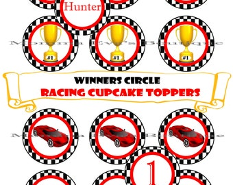 Momma Eva's -- CUSTOMIZED Winners Circle Racing Cupcake Toppers / 8.5in x 11in  / 2in Designs / Print Yourself / Racing Theme Birthday