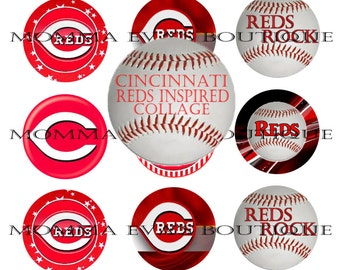 Momma Eva's -- INSTANT DOWNLOAD / Cincinnati Reds Fan Inspired Collection  / 4 x 6  / 1 in Circles /  Bottle Caps  Hair Bows