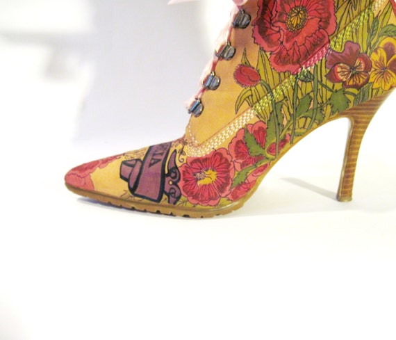 Boots Hand Painted, hand painted suede boots, Christian, Women's Size 8