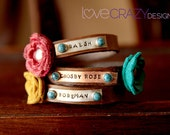Triple wrap personalized bracelet with flowers and turquoise rivets