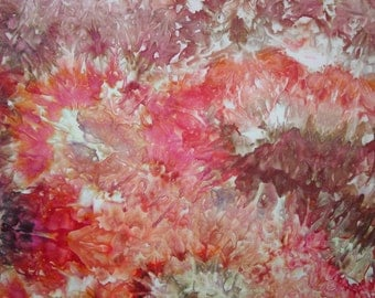 Hand Dyed Ice Dyed Fabric, Coral Reef, Fat Quarter (MH) #1