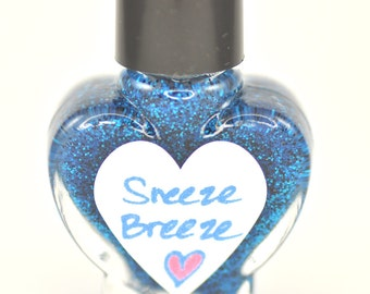 Sneeze Breeze Black and Blue Glitter Nail Polish 5ml Mini