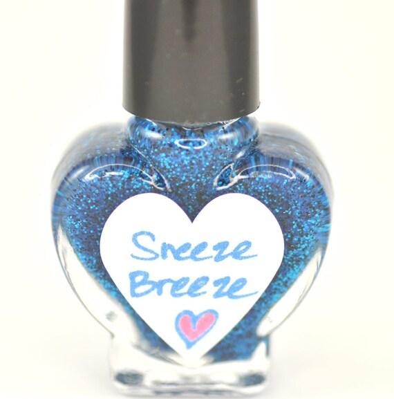 Sneeze Breeze Black and Blue Glitter Nail Polish 5ml Mini
