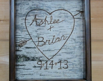 Framed Birch Bark, Wedding, Momento, Remeberance
