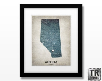 Alberta Canada Map Print - Home Is Where The Heart Is Love Map - Original Custom Map Print Available in Multiple Sizes & Color options