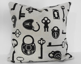 Antique Key Throw Pillow Cover, Skeleton Key Decorative Linen Pillow Cover, Cushion Cover