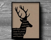 typography deer love silhouette quote letters art print poster kraft paper home decor animal 8x10 8.5x11