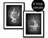 chalkboard art print chalk board home decor vintage teapot kitchen black white 8x10 set pair