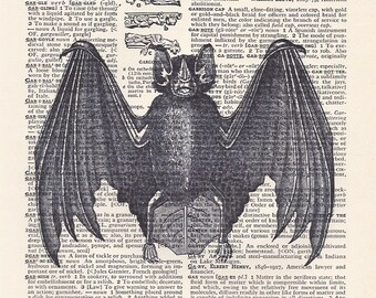 Dictionary Art Print - Upcycled Vintage Paper - Vampire Bat Print - 7-1/4 x 10-1/2