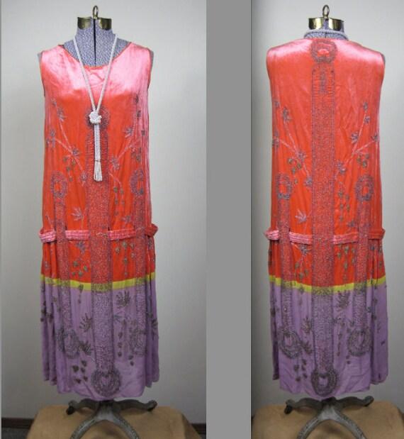 RESERVED for NAD / 1920s / Flapper Dress / The Great Gatsby / Boardwalk Empire / Drop Waist / Sheath Dress / Silk Velvet / Beaded / Size 4