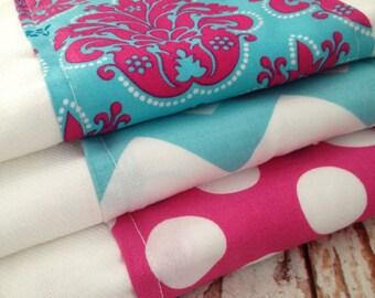 Burp Cloths, Set of Three - Girl - Turquoise, Pink, Damask, Polka Dot, Chevron