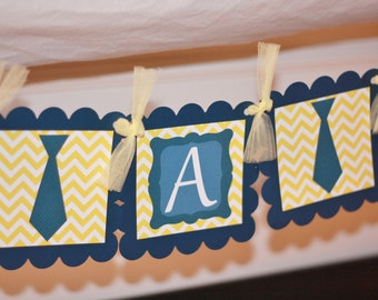"Yellow Navy Chevron - ""It's a Boy"" or ""Little Man"" Mustache, Tie or Bowtie Baby Shower Banner - Ask About Party Pack Specials"