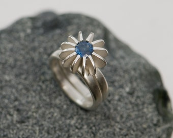Blue Sapphire Engagement Ring - Blue Sapphire Wedding Set - Satin Finished Sterling Silver - Sea Urchin Ring - FREE SHIPPING
