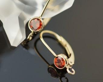 one pair 14k gold filled 4.0 mm natural garnet bezel lever back with ring