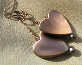 Bronze Heart Chain Dangle Earrings