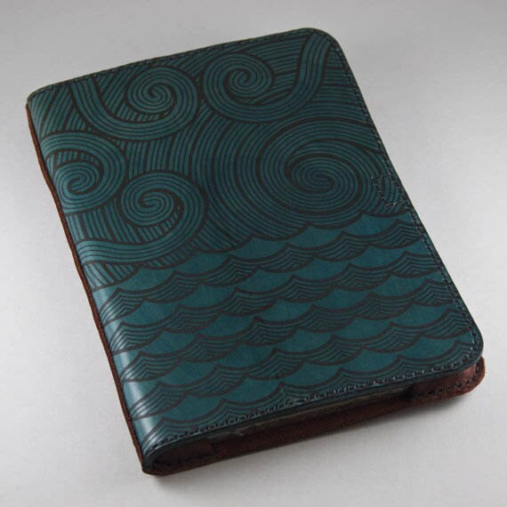 Leather iPad 2, iPad 3 or iPad 4 Book-Style Folio Cover Blue Crow / Raven Design