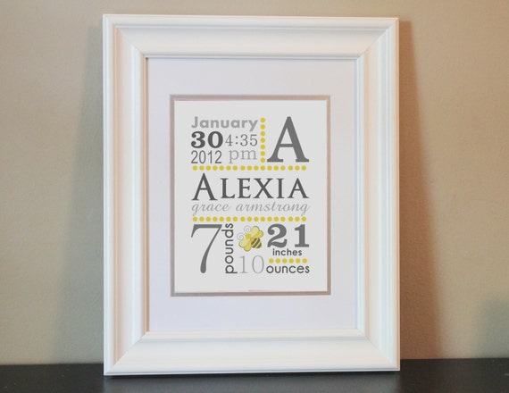 Baby Nursery Name Art Girl, Birth Announcement (Yellow & Gray Bee)- 8x10 Personalized Print