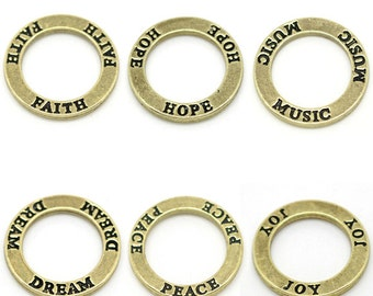 6 Message Brass Ring Set Charms 23mm