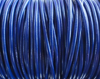 2 Yards Royal Blue Genuine Leather 2mm Round Cord