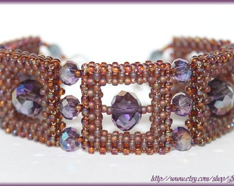 Glamour style purple bracelet Japanese Toho seed beads and crystals cubic RAW