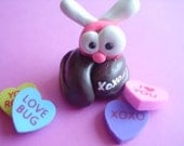 Valentine Love Bug on a Turd Pink and Red Fly Bee Poop Crap XOXO Polymer Clay Miniature Figurine Ooak Animal Gift Cute