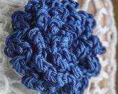 Hand Crocheted Flower Pin Virbrant Blue Crocheted Pin Brooch