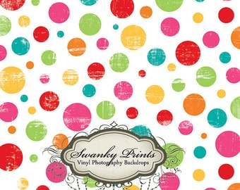 IN STOCK / Fast Shipping / 5ft x 5ft Vinyl Photography Backdrop / Birthday Dots