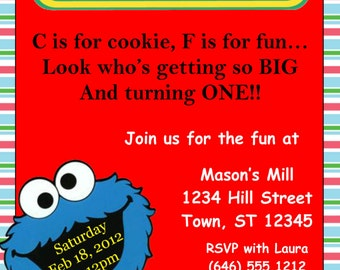 Cookie Monster Invitation Template 4x6