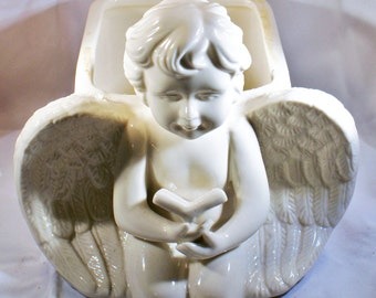 White Angel Planter, Vintage Planter, White Vintage Planter, White Angel Pot, White Plant Pot