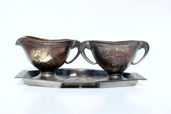 Cream and Sugar Set Pewter Elephant Set with Tray Serving