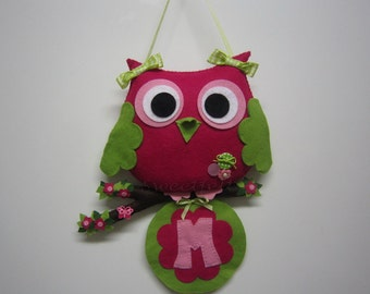 Owl letter hanger sign - name banner