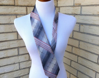 Vintage Neck Tie Don Loper Mens Gray Graphic