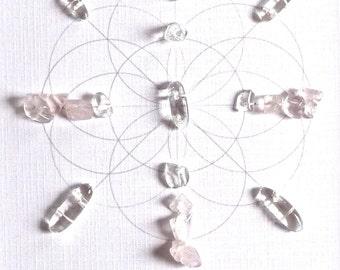MARRIAGE BAGUA AREA --- feng shui art --- framed sacred crystal grid --- rose quartz, quartz