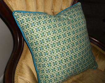 Green and Blue Accent Pillows  - Perky Spring Print With Silky Turquoise Piping Trim - Cool Colors For A Hot Summer By Pillowinno