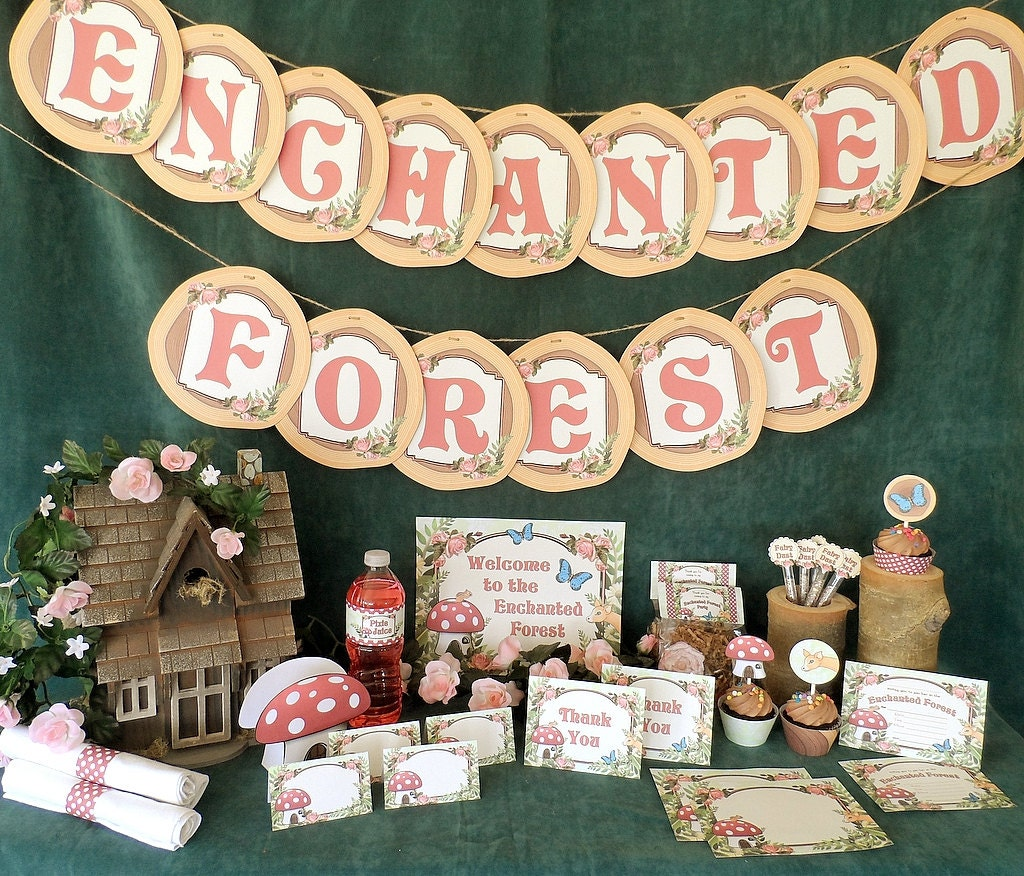 Enchanted Forest Woodland Printable Party Pack Kit Instant