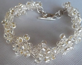 Silver Lined Crystal Wedding Bracelet , Bouquet Style, Sterling Silver Plated, Crystal Seed Beads, BoHo, Retro, Regency