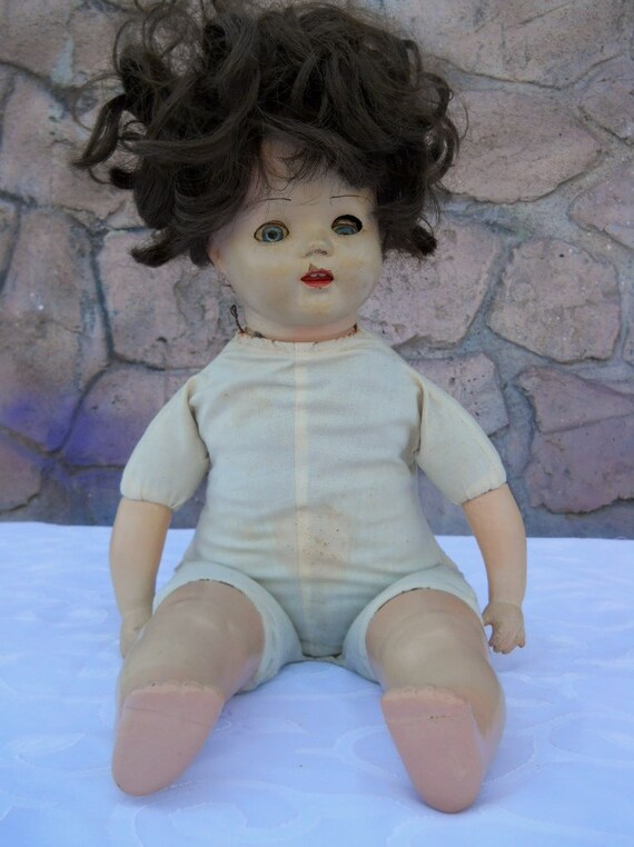 Antique 1940s Baby Doll Cloth Body Sleepy Eyes Crier