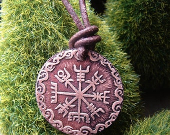 Viking Compass Necklace, Viking Necklace, Vegvisir, Leather Necklace