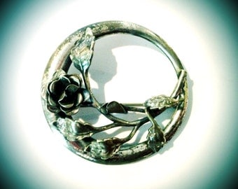 Vintage Danecraft Sterling Silver Decorative Art Nouveau Style Floral Rose and Vine Circular Brooch