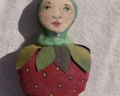 Folk Art Primitive Strawberry Doll Ornament OOAK Hand Made Painted Fabric Fruit X-mas