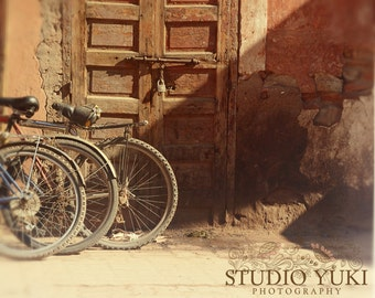 Bicycle Travel Photo, Old Door, Rustic, Brown, Earth Tones, Moroccan Wall Art, Natural, Old Building, Bikes, Fine Art Photography - Dust
