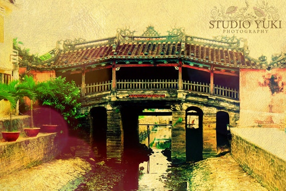 Vietnam Travel Photography, Japanese Bridge, Pagoda, Summer, Spring, Dreamy, 8x12, signed art - Summer Haze