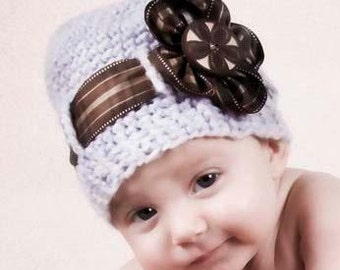 PDF Pattern - Abigail Ribbon Beanie - Crocheted Photo Prop Hat in All Sizes - Ribbon Flower Photo Tutorial - Instant Download