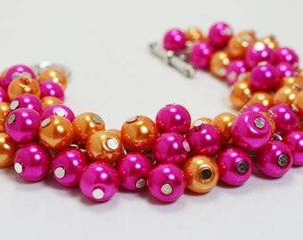Hot Pink and Orange Bracelet, Hot Pink Chunky Bracelet, Cluster Bracelet, Bridal Jewelry, Bold Bracelet, Bridesmaid Gift, Summer Bracelet.